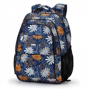 Рюкзак школьный синий с цветами