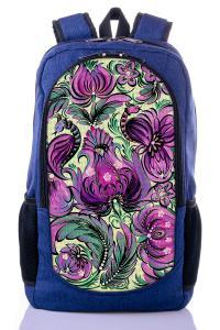Рюкзак синий Цветы