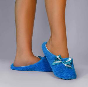 Тапочки синие махровые с бантиком