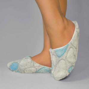 Тапочки махровые серо-голубые