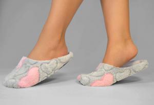 Тапочки махровые серо-розовые