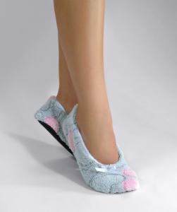 Тапочки-балетки серо-розовые