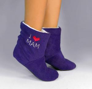 Тапочки-сапожки фиолетовые с надписью