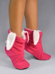 Тапочки-сапожки розовые зайчики