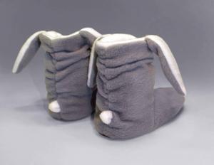 Тапочки-сапожки серые зайчики