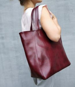 Средняя сумка-шоппер бордо