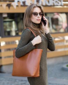 Средняя сумка-шоппер коньяк