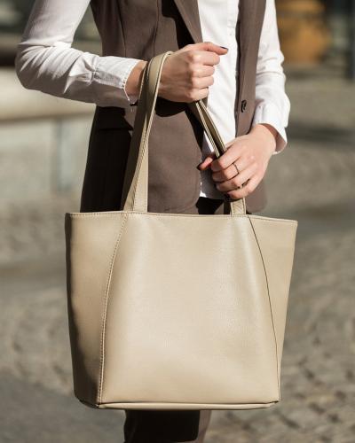 Средняя сумка-шоппер серо-бежевая