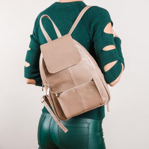 Вместительный  рюкзак в бежевой коже с клапаном