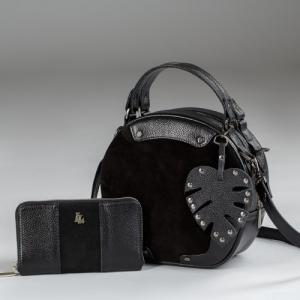 Кошелек вместительный черный кожаный в комбинации с замшей