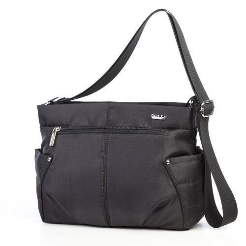 Удобная сумка черная болоньевая с плечевым ремешком