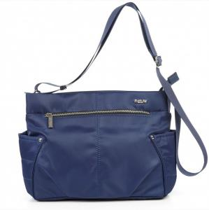 Удобная сумка синяя болоньевая с плечевым ремешком