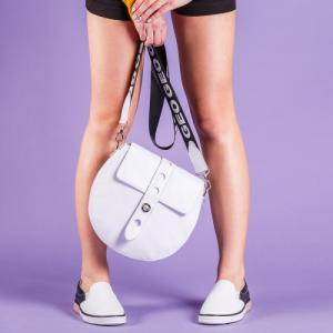Стильная сумка круглая белая
