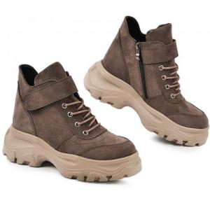 Замшевые ботинки на массивной платформе