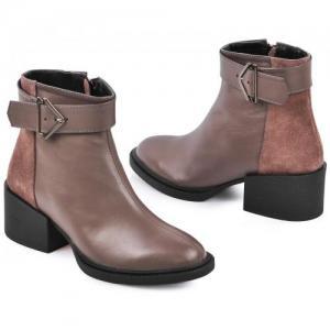 Комбинированные замшей и кожей капучино ботинки на удобном каблуке