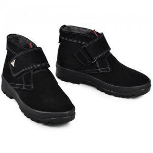 Ботинки черные замшевые на липучке