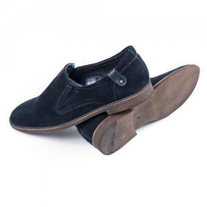 Туфли синие замшевые на боковых резинках