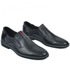 Туфли синие кожаные на боковых резинках