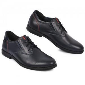 Туфли синие кожаные на шнурках