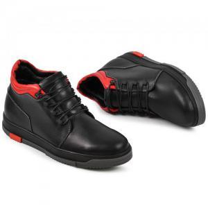 Ботинки  кожаные черные/красные