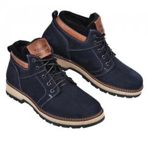 Ботинки в синем, коричневом нубуке, в черной коже