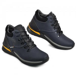 Ботинки в синей и черной матовой коже