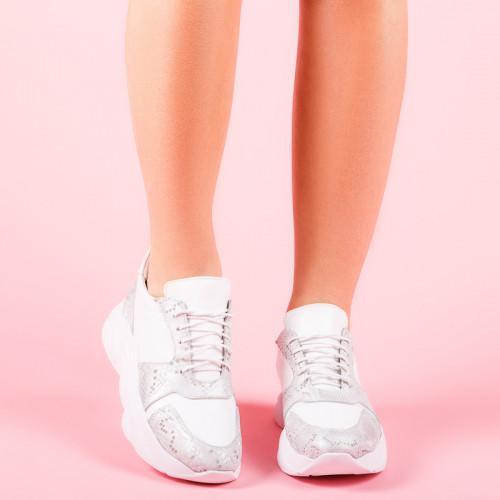 Кроссовки кожаные белые со вставками серый питон
