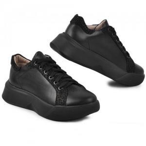 Кеды Рика черные кожаные