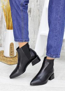Челси черные кожаные с зауженным носочком