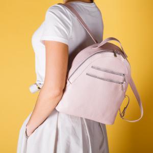 Рюкзак в пудровой коже с полукруглым верхом