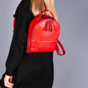 Рюкзак в красной коже с кисточками
