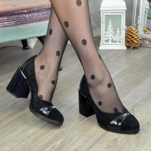 Туфли черные замшевые на высоком утолщенном каблуке