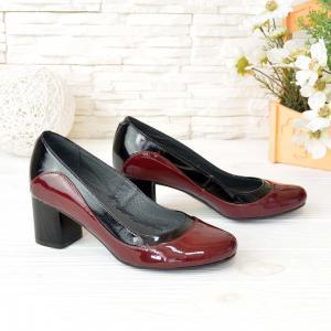 Туфли лаковые комбинированные бордовой и черной кожей