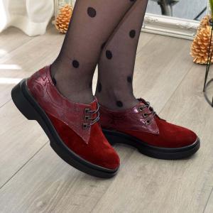 Туфли бордовые комбинированные кожей и замшей