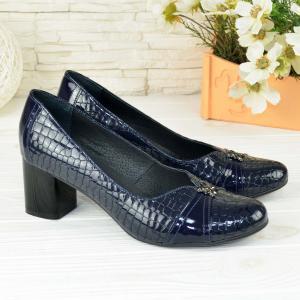 Туфли синие кожаные с тиснением под питона