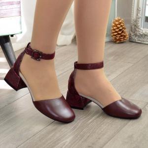 Туфли бордовые кожаные на небольшом каблучке