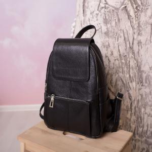 Рюкзак черный кожаный с внешним карманом