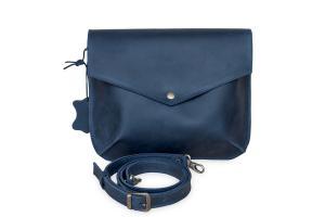 Сумка-конверт синяя из натуральной винтажной кожи