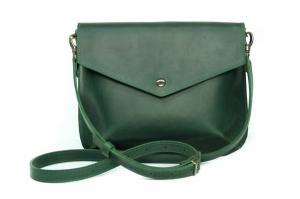 Сумка-конверт зеленая из натуральной винтажной кожи