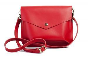 Сумка-конверт красная из натуральной винтажной кожи