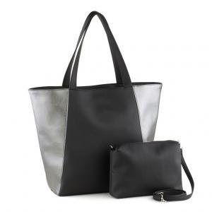 Сумка-шоппер 2 в 1 черная/серебро