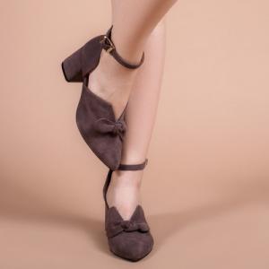 Туфли замшевые коричневые с бантиком