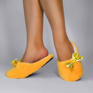 Тапочки желтые махровые с бантиком